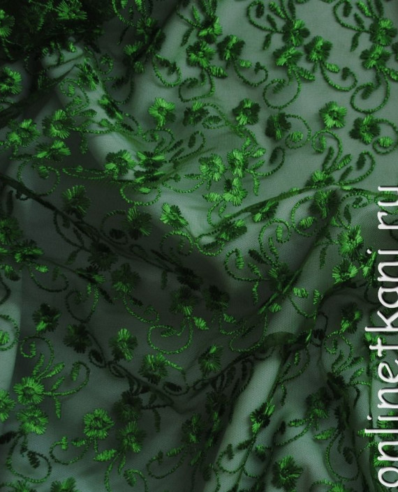 "Ткань Гипюр ""Салат"" 050 цвет зеленый абстрактный картинка 1"