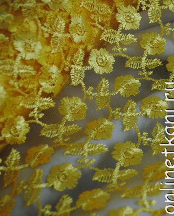 """Ткань Гипюр """"Желтый"""" 016 цвет желтый цветочный картинка 1"""