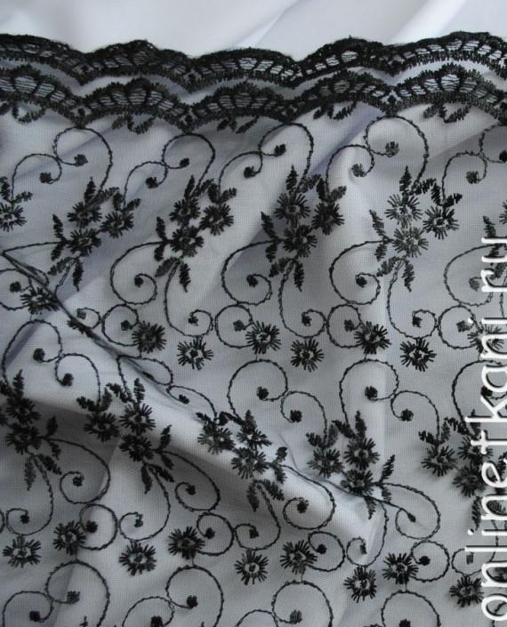 """Ткань Гипюр """"Ночь"""" 052 цвет черный цветочный картинка"""