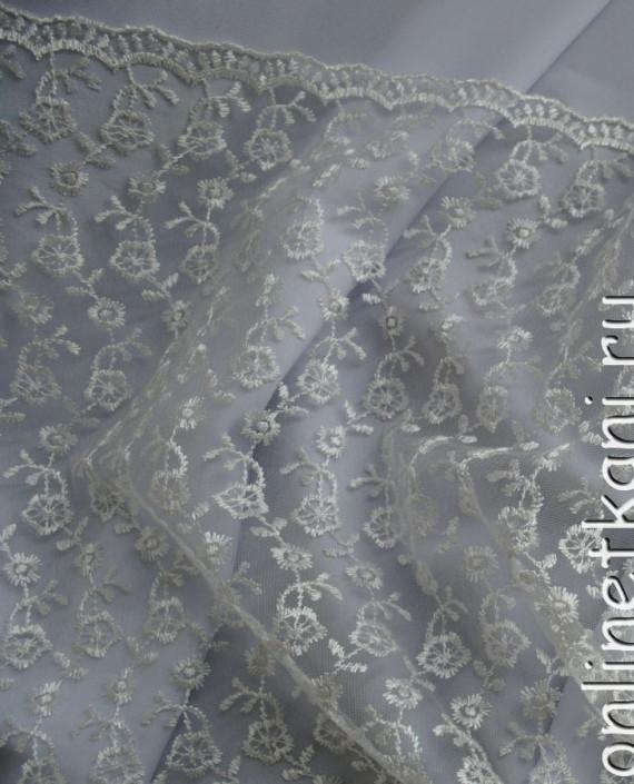 """Ткань Гипюр """"Нежность"""" 053 цвет белый цветочный картинка 1"""