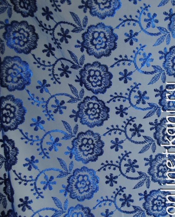 """Ткань Гипюр """"Синие цветы"""" 054 цвет синий цветочный картинка"""