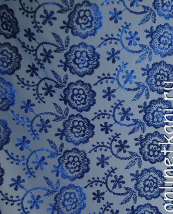 """Ткань Гипюр """"Синие цветы"""" 054 цвет синий цветочный картинка 1"""