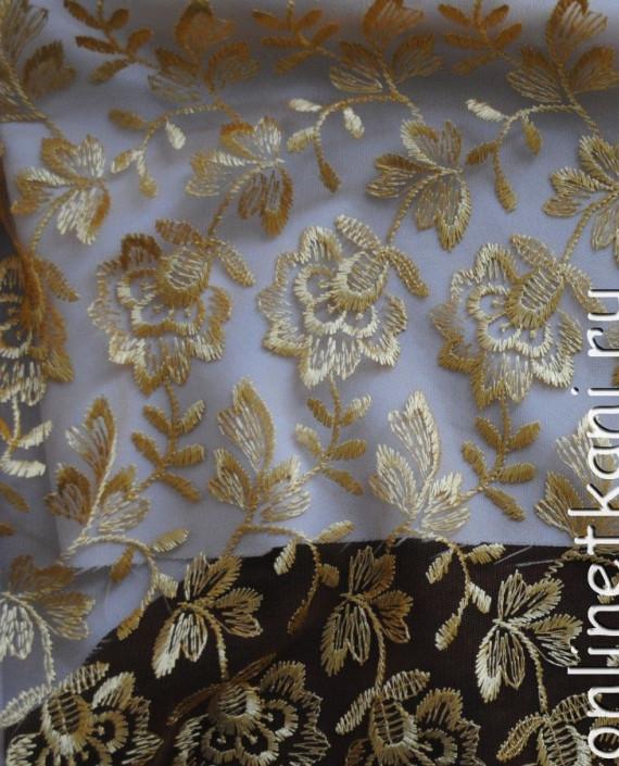 """Ткань Гипюр """"Мягкое золото"""" 055 цвет золотой цветочный картинка"""
