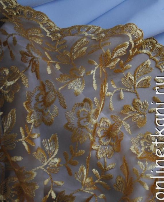 """Ткань Гипюр """"Мягкое золото"""" 055 цвет золотой цветочный картинка 2"""