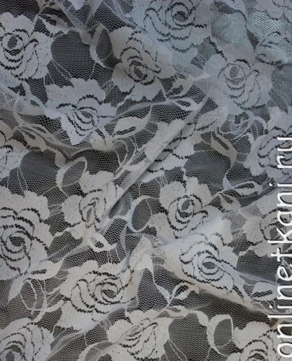 """Ткань Гипюр-стрейч """"Белый"""" 001 цвет белый цветочный картинка"""