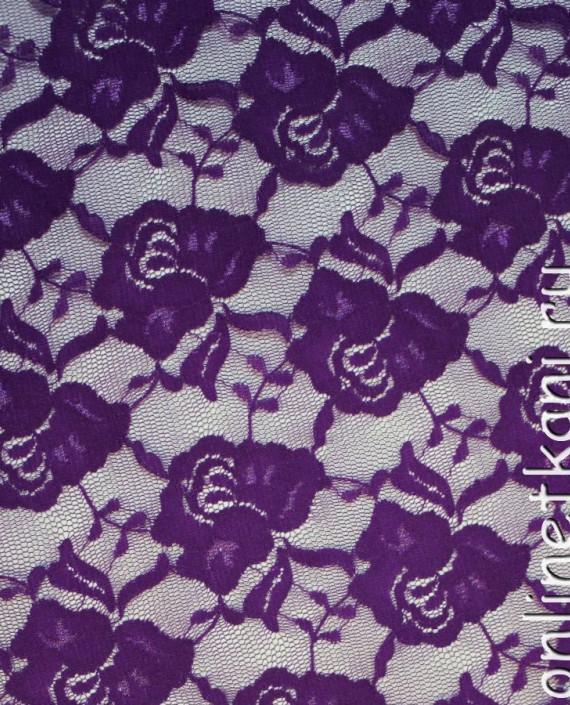 """Ткань Гипюр-стрейч """"Сирень"""" 002 цвет сиреневый цветочный картинка"""