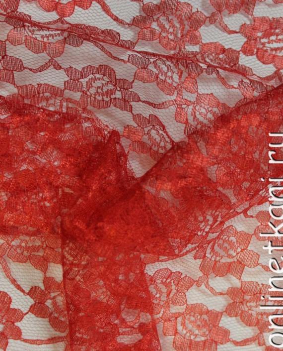 """Ткань Гипюр """"Красный"""" 005 цвет красный цветочный картинка 2"""