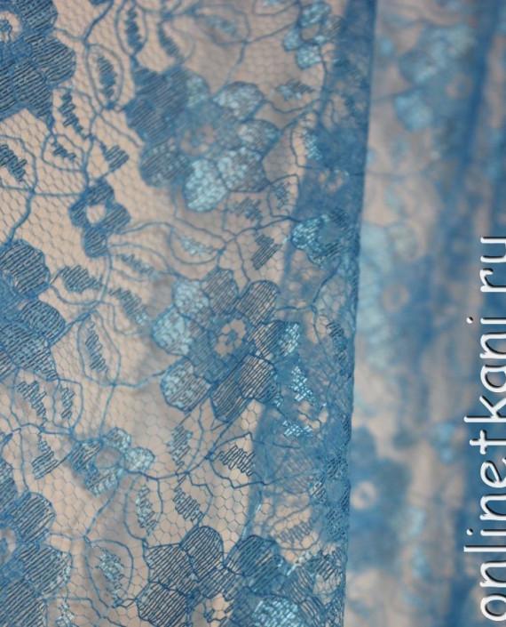 """Ткань Гипюр """"Голубой"""" 006 цвет голубой цветочный картинка 2"""