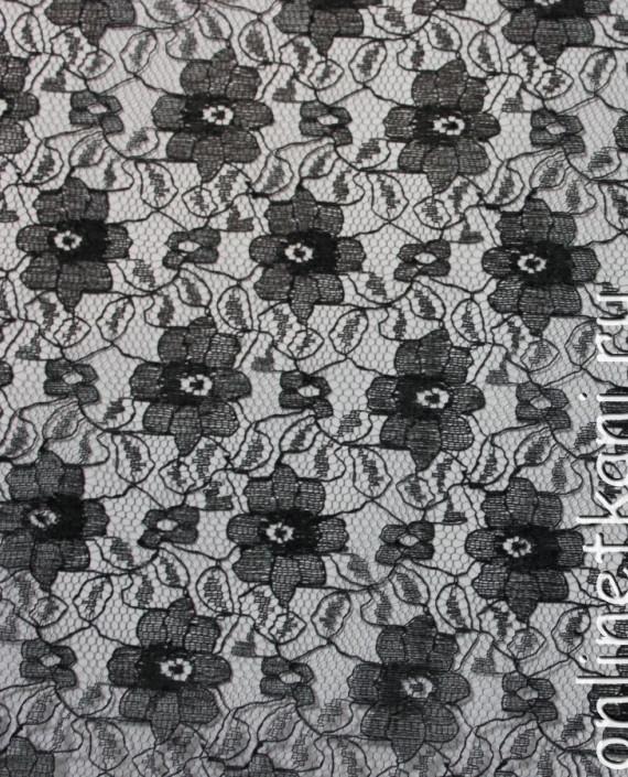 """Ткань Гипюр """"Черный"""" 011 цвет черный цветочный картинка"""