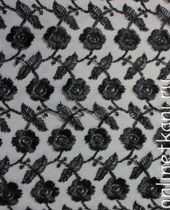 """Ткань Гипюр """"Черные цветы"""" 018 цвет черный цветочный картинка"""