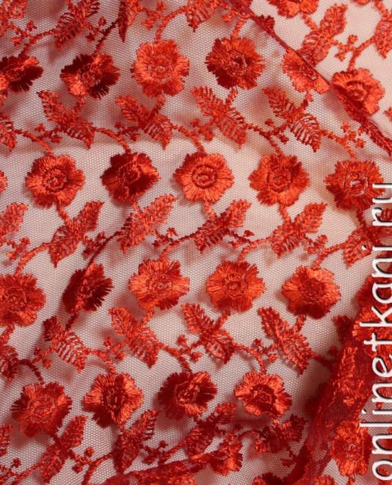 """Ткань Гипюр """"Огонь"""" 021 цвет красный цветочный картинка 1"""