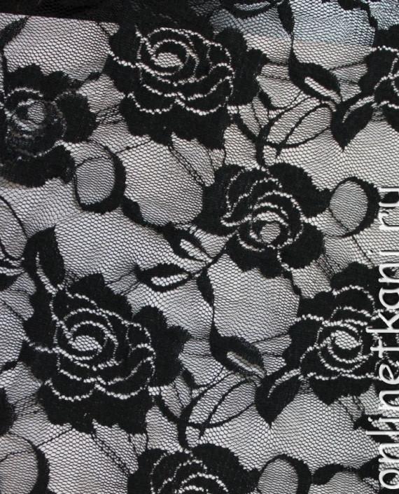 """Ткань Гипюр-стрейч """"Черный"""" 022 цвет черный цветочный картинка"""