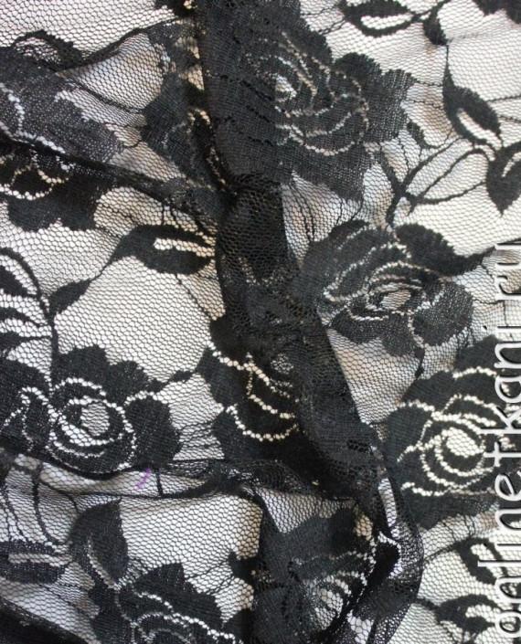"""Ткань Гипюр-стрейч """"Черный"""" 022 цвет черный цветочный картинка 1"""