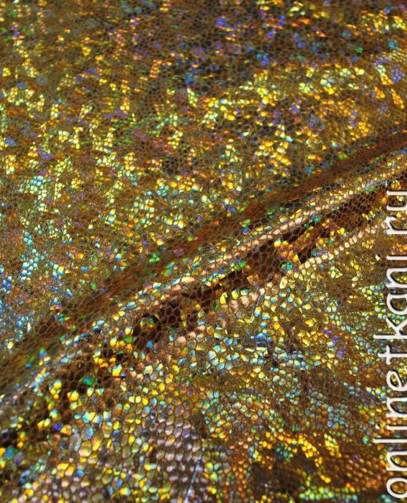 """Ткань голограмма """"Золотая чешуя"""" 003 цвет золотой картинка 2"""