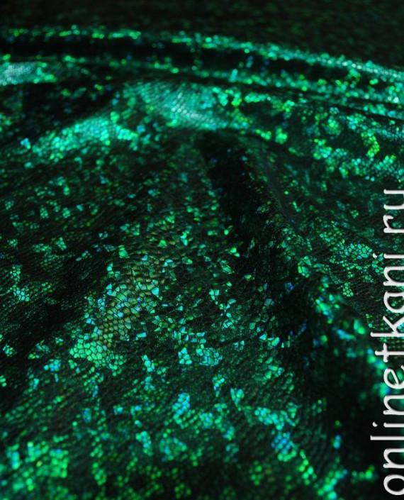 """Ткань голограмма """"Зеленая чешуя"""" 005 цвет зеленый картинка 2"""