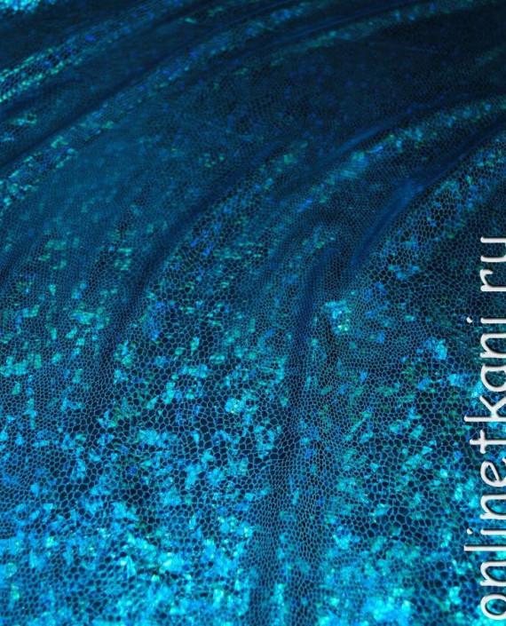 "Ткань голограмма ""Голубая чешуя"" 006 цвет голубой картинка 3"