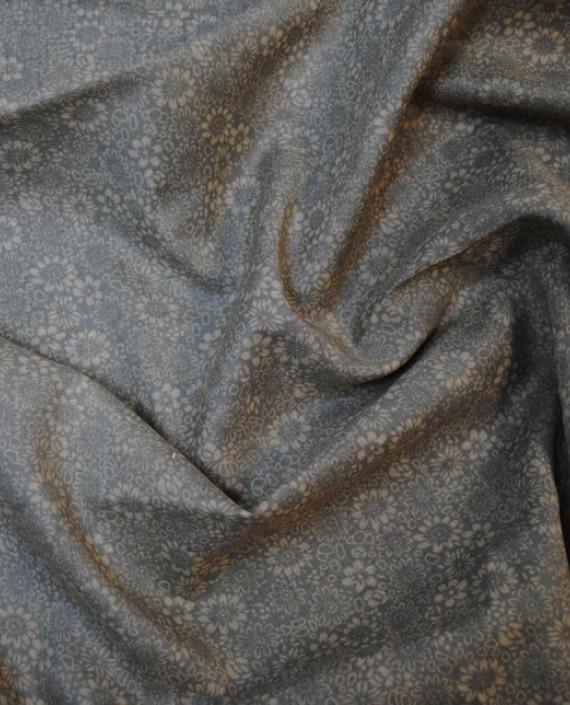 """Ткань Хлопок """"Травяной"""" 0002 цвет серый цветочный картинка 3"""