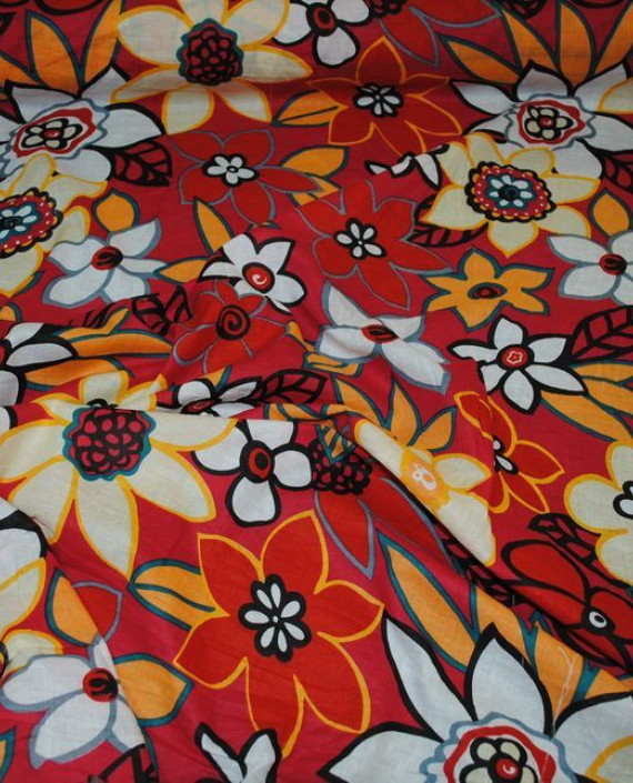 """Ткань Хлопок """"Цветы на красном"""" 0005 цвет красный цветочный картинка 1"""