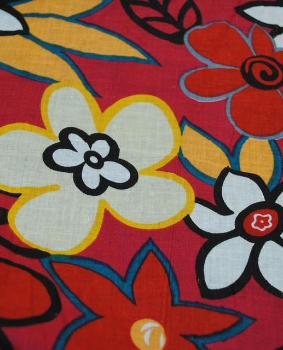 """Ткань Хлопок """"Цветы на красном"""" 0005 цвет красный цветочный картинка"""