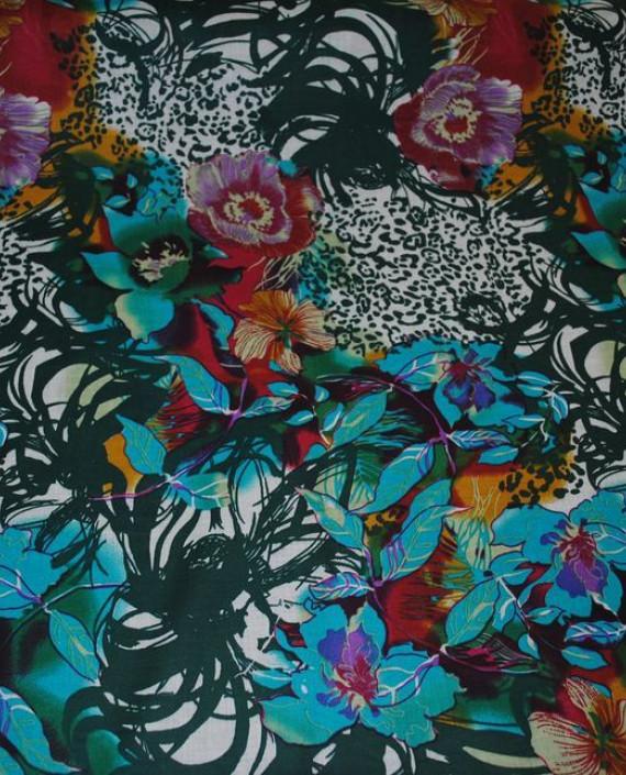 """Ткань Хлопок """"Цветочная пучина"""" 0014 цвет бирюзовый цветочный картинка 2"""