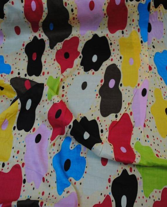"""Ткань Хлопок """"Цветочная радуга"""" 0017 цвет айвори цветочный картинка"""