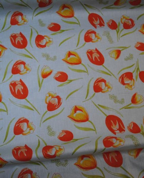 """Ткань Хлопок """"Тюльпаны"""" 0018 цвет белый цветочный картинка 2"""