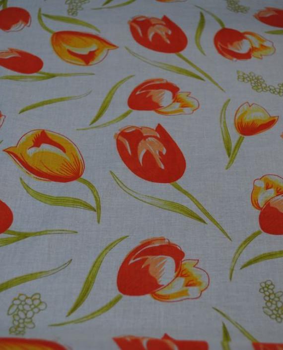 """Ткань Хлопок """"Тюльпаны"""" 0018 цвет белый цветочный картинка"""