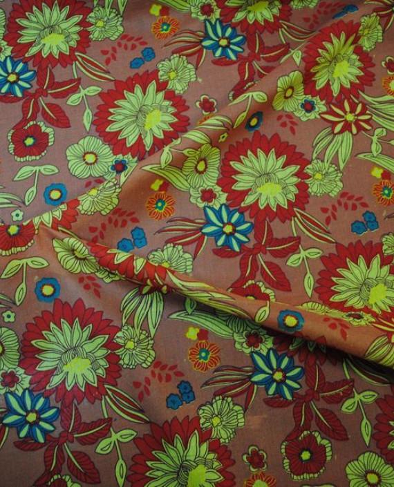 """Ткань Хлопок """"Цветочная поляна 2"""" 0019 цвет коричневый цветочный картинка 1"""