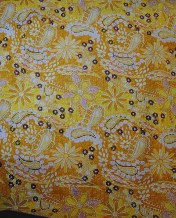 """Ткань Хлопок """"Цветы солнца"""" 0020 цвет желтый абстрактный картинка 2"""