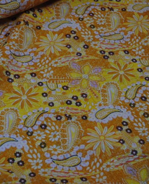 """Ткань Хлопок """"Цветы солнца"""" 0020 цвет желтый абстрактный картинка"""