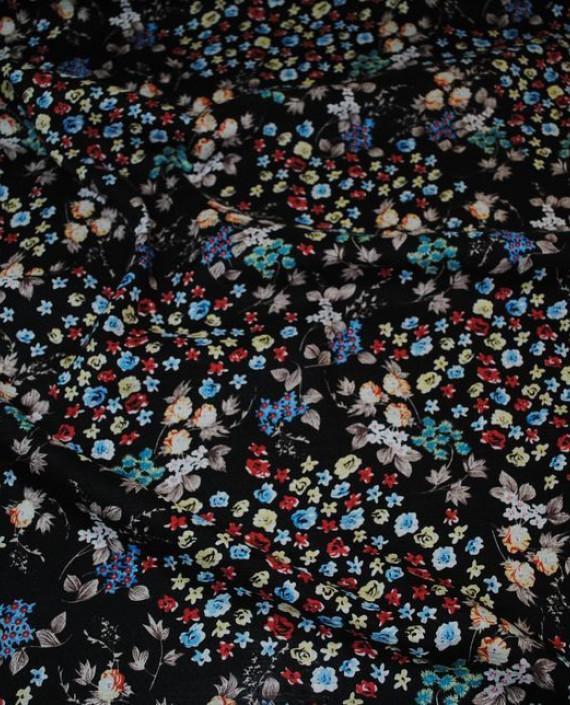 """Ткань Хлопок """"Цветы на черном"""" 0026 цвет черный цветочный картинка"""