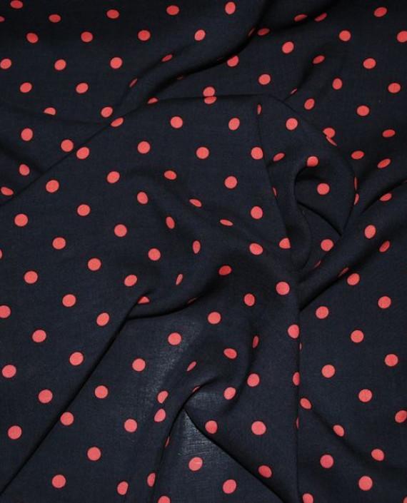 """Ткань Хлопок """"Красное на синем"""" 0032 цвет черный в горошек картинка"""