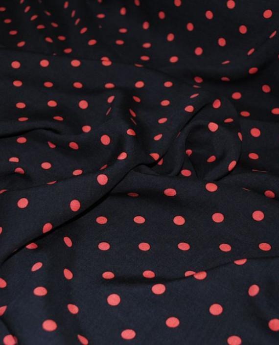 """Ткань Хлопок """"Красное на синем"""" 0032 цвет черный в горошек картинка 2"""