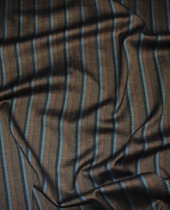 """Ткань Хлопок Костюмный """"Индейцы"""" 0026 цвет коричневый в полоску картинка"""