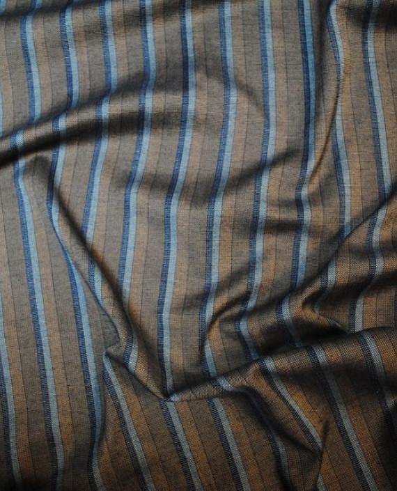 """Ткань Хлопок Костюмный """"Индейцы"""" 0026 цвет коричневый в полоску картинка 2"""