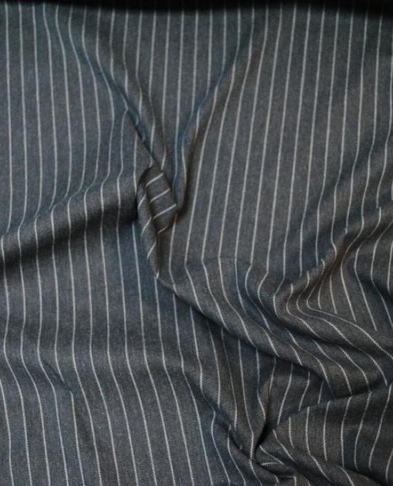 """Ткань Хлопок Костюмный """"Антрацит"""" 0027 цвет серый в полоску картинка 1"""