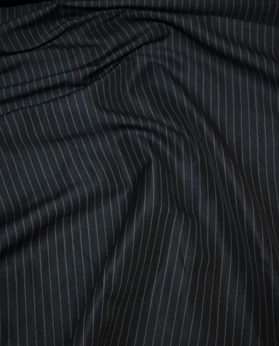 """Ткань Хлопок Костюмный """"Серая полоска"""" 0028 цвет черный в полоску картинка"""