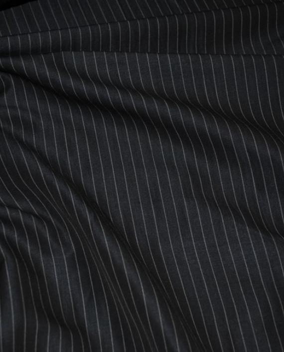 """Ткань Хлопок Костюмный """"Серая полоска"""" 0028 цвет черный в полоску картинка 2"""