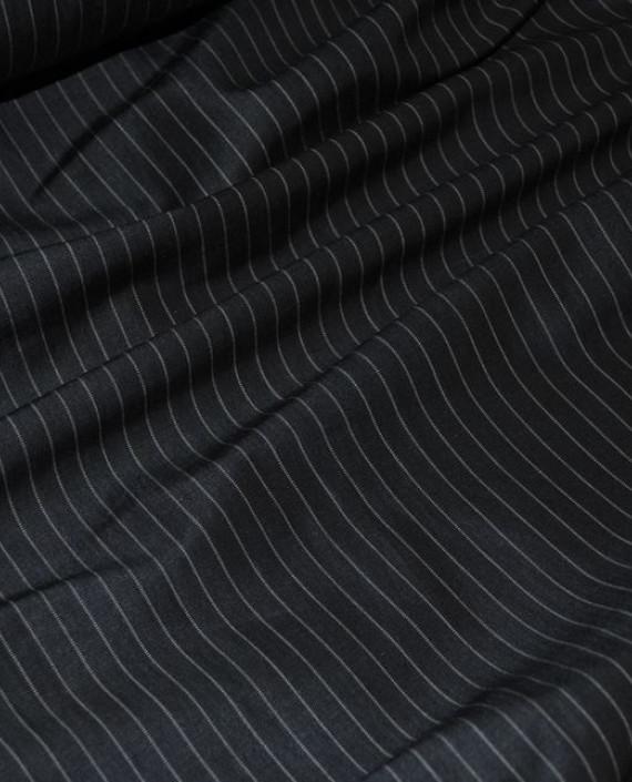 """Ткань Хлопок Костюмный """"Серая полоска"""" 0028 цвет черный в полоску картинка 1"""