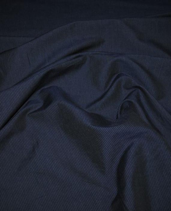 """Ткань Хлопок Костюмный """"Темно-Синяя полоска"""" 0029 цвет синий в полоску картинка"""