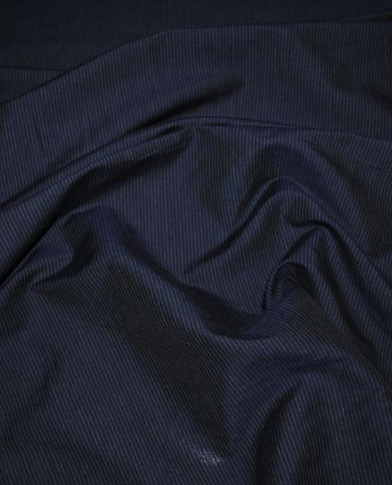 """Ткань Хлопок Костюмный """"Темно-Синяя полоска"""" 0029 цвет синий в полоску картинка 1"""