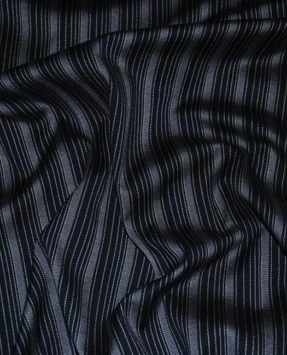 """Ткань Хлопок Костюмный """"Разнородные полоски"""" 0035 цвет черный в полоску картинка"""