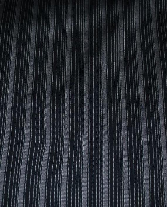 """Ткань Хлопок Костюмный """"Разнородные полоски"""" 0035 цвет черный в полоску картинка 1"""