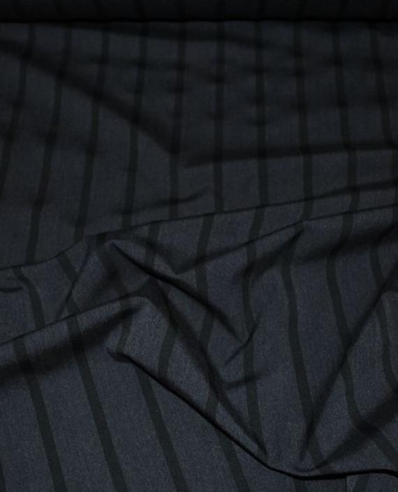 """Ткань Хлопок Костюмный """"Угольная полоска"""" 0036 цвет серый в полоску картинка"""