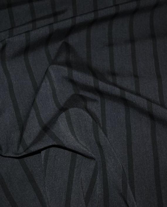 """Ткань Хлопок Костюмный """"Угольная полоска"""" 0036 цвет серый в полоску картинка 1"""