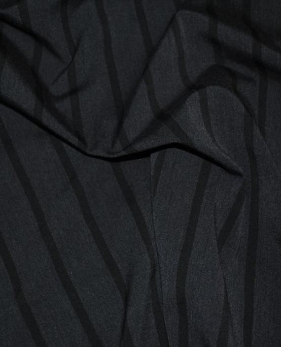 """Ткань Хлопок Костюмный """"Угольная полоска"""" 0036 цвет серый в полоску картинка 2"""