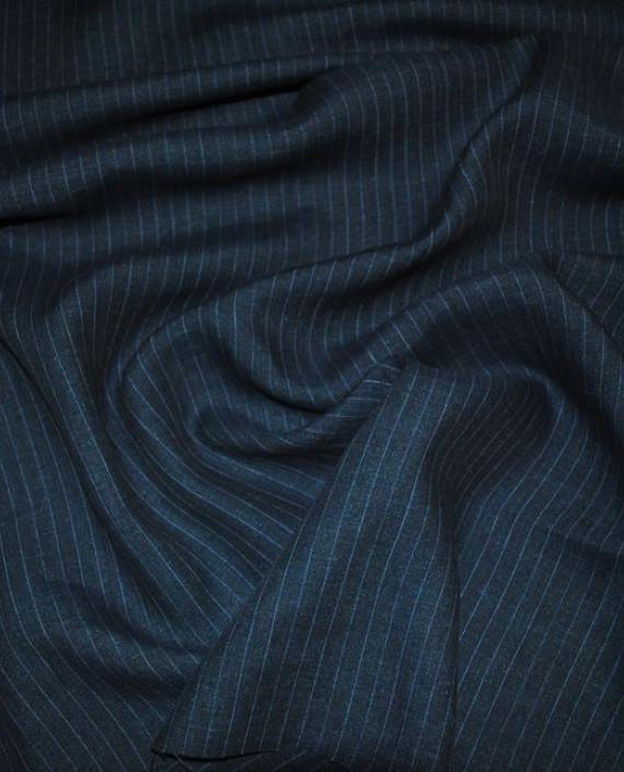 """Ткань Хлопок Костюмный """"Джинсовый"""" 0040 цвет синий в полоску картинка"""