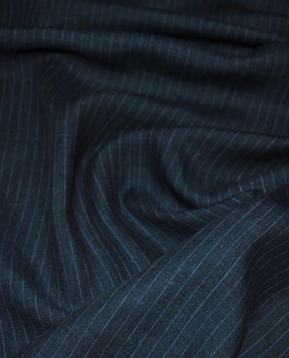 """Ткань Хлопок Костюмный """"Джинсовый"""" 0040 цвет синий в полоску картинка 2"""