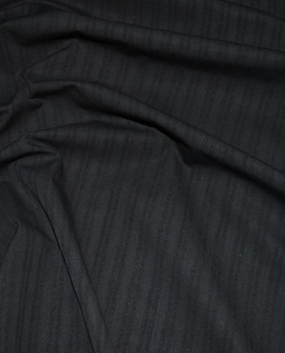"""Ткань Хлопок Костюмный """"Черный с угольным"""" 0042 цвет черный в полоску картинка"""