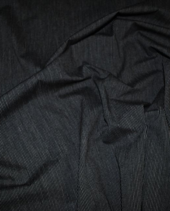 """Ткань Хлопок Костюмный """"Бело-Черный"""" 0043 цвет серый в полоску картинка"""